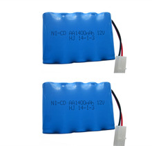 2pc Brand 12v 1400mah battery ni-cd 12v aa nicd batteries battery pack ni cd rechargeable 10x aa for RC boat model car toys tank(China)