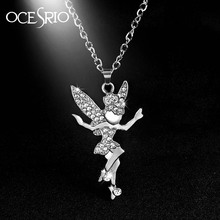 Silver Fairy Tail Necklaces Silver Chain Big Angel Wing Fairy Necklace Pendant for Girls Christmas Jewelry Gifts nke-n23(China)