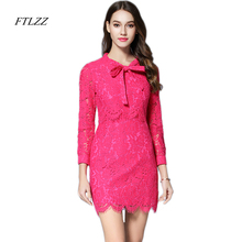 Ftlzz Women Summer Lace Dress Slim Vintage Short Design Elegant Party Dresses Four Colors Long Sleeve Women Apparel