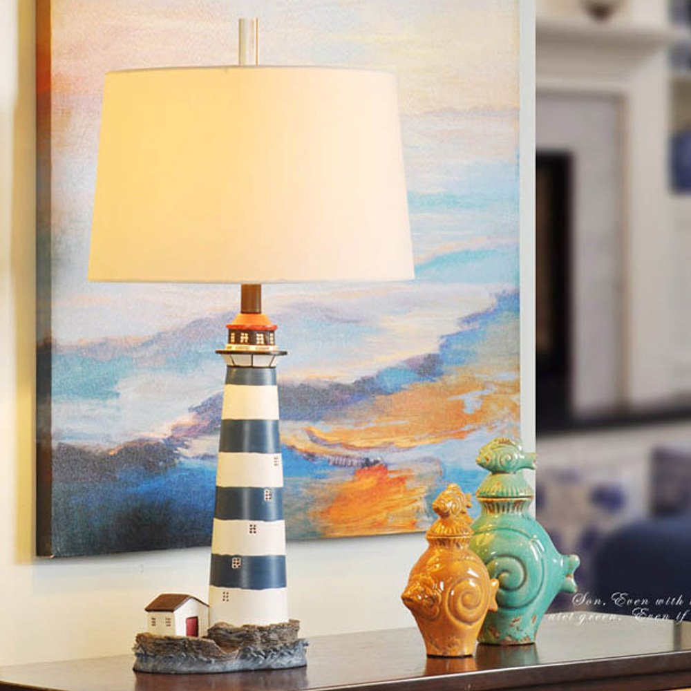 "Italy Style Lighthouse Shape Desk Lamps Table Light Resin Handcraft Engrave Sculpture Read Lamps 30"" Foyer Light Decors(China (Mainland))"