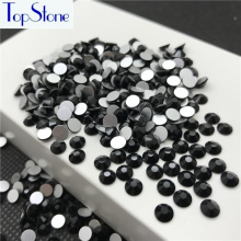 Topstone Jet Black Color ss3-ss34 Glass Crystal Flatbacks 3D Glitter Nail Art Stone Non Hot Fix Glue on Rhinestones