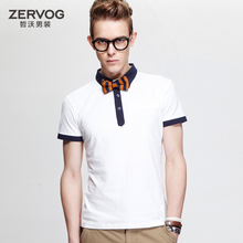Pre Sale 2014summer new personalized lapel short-sleeved T-shirt men's cotton round neck breathable solid hit color boys