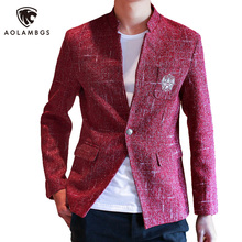 Men's blazers and suit jackets casual slim fit stylish blazer suit men 2016 red/grey /black and gold blazer Plus Size 4XL 5XL