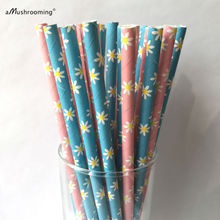 100 x Outdoor Birthday Party Supply Paper Straws Golf Destination Wedding Table Decoration Pink and Blue Daisy Drinking Straws(China)