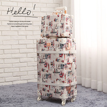 "20"" - 26"" Tower Women Retro Rolling Luggage Pu Leather Suitcase Trunk Vintage Luggages With Spinner Wheels for Girls"