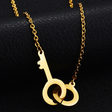 Top Quality Never Fade 316L Stainless Steel Charm Necklace 18 Gold-Color Key Handcuffs Pendant Necklace For Party Gift