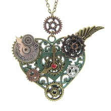 2017 Newest Style Nice Pattern Heart Pendant with Various Gears DIY Mechanical Steampunk Necklace Vintage Jewelry(China)