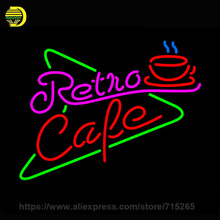Retro Cafe Neon Sign Beer Bar Pub Decorate Glass Tube Neon Bulb neon light sign Super Lamp Metal Frame Sign shop Display 17x14(China)