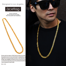 "iftec 8mm-32"" Heavy Metal Cuban Chain Male Chunky Link Necklace Solid Gold color Female Long Chains Jewelry Hip Hop N263"