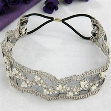 New Chic Women Girl Lace Pearl Beads Headband Hairband Vintage Ethnic Elastic Headwear Hair Body Jewelry
