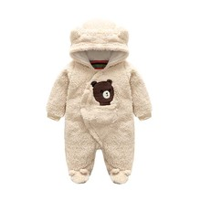 New fashion Newborn winter baby rompers coral fleece cotton padded infant baby girl Boy clothes thickening jumpsuits outerwear
