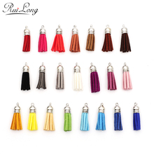 10pcs/lot 38mm Full Leather Tassels silver Caps Suede Tassel For Keychain Cellphone Straps Charms multicolor mixed