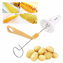 1 Set Practical Stainless Steel Spiral Potato Cutter Twist Tower Slicer Making Fry Chips Tool