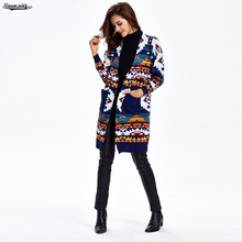 2017 Winter New Arrival Women Fashion Life Cardigans Long Sleeve Open Stitch Neck Casual Fall Long Knitted Sweater(China)
