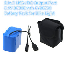 8.4V USB+DC 2 IN 1 36000mAh Bicycle Light Battery Pack 6x26650 Battery Power for CREE XM-L X2 X3 T6 LED Lamps Cycling HeadLight(China)