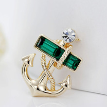 SHUANGR Hot Sale European Fashion Men Navy Style Pirates Anchor Gold-Color Crystal Brooch Women Jewelry 2 Colors