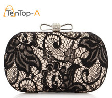 TenTop-A Good Hollow Lace Clutch Bags New Lace Satin Evening Bags High-Grade Silk Bow Party Bags Exquisite Day Clutches 3 Colors