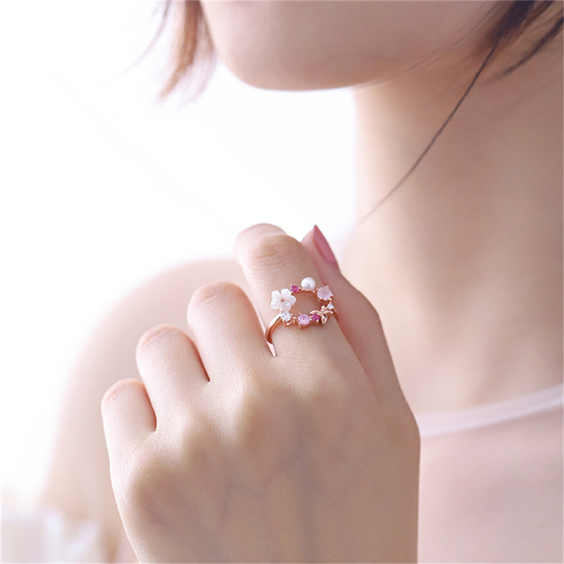 Sweet Crystal Stone Stimulated Pearl Flower Rings for Women Opening Adjustable Ring Jewelry Lady Girls Gifts C25