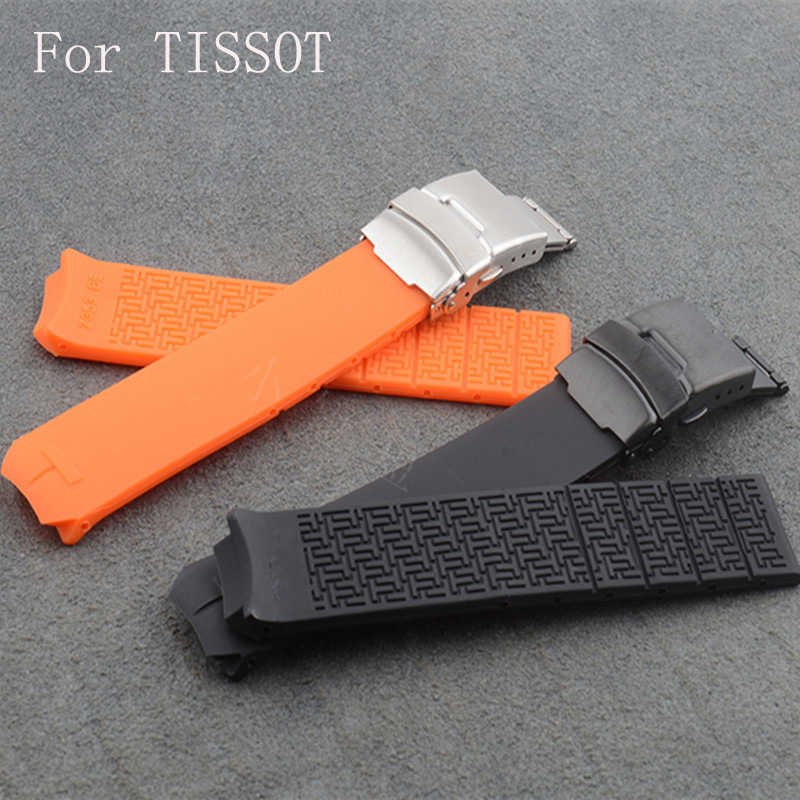 20mm 21mm Silicone Rubber Watch Strap Belt  Watchband For TISSO Watch T-Touch T013 T047  With Logo Deployment Clasp Buckle<br>