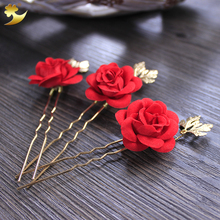 XinYn New Arrival Classic Red  Headdress Head wear Wedding Hair Clips Headpiece Head Wear Artificial Rose Floral Hair Pins 78034