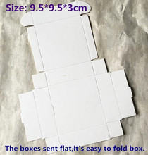 50pcs/lot-9.5*9.5*3cm Blank White Paper Aircraft Boxes Big Size Candy Gift Event Party Decorative Button Packing Boxes