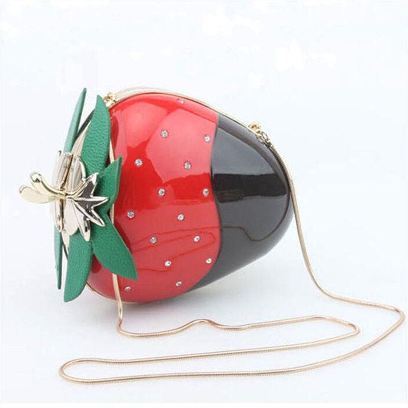 2017 New fashion Fruit shape clutch bag women strawberry diamonds decoration shoulder bag metal chain women shoulder bag<br><br>Aliexpress