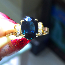 2 Carat Natural Sapphire ring 18K Yellow Gold Wedding Ring Blue Gemstone Fine Jewelry Valentine engagement ring Royal blue(China)