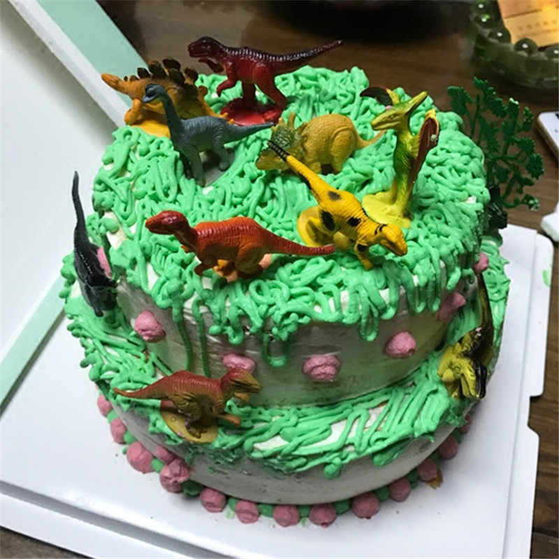 Toy Animals Dinosaur Birthday Cake Topper Woodland Party Supplies Decorating Animal Toys Cupcake
