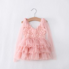 DHL EMS Free Shipping toddler's Little Girl's Lace Casual kids Princess Party Rosette Dress 3 Colors 90-130