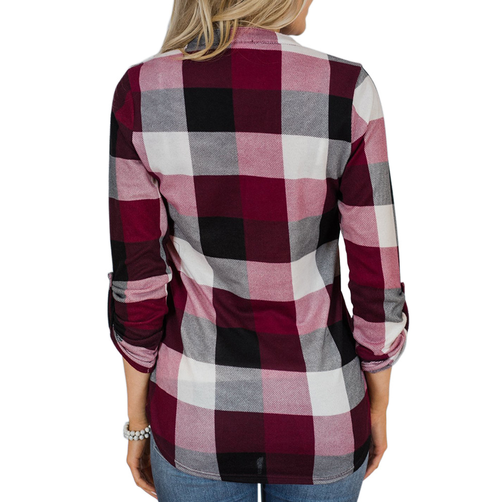 V-neck Blouse Women Long Sleeve Plaid Shirt Top Spring Autumn Casual Office Blouse Blusas Mujer De Moda 2018 Blouses Feminine7