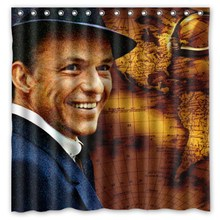 High Quality 180*180cm Frank Sinatra Modern Style Waterproof Fabric Bathroom Shower Curtain With Hooks Free Shipping