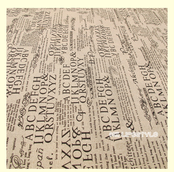 Buulqo 100*140cm width retro upholstery printed enligh letters cotton linen fabric by meter  DIY  home decor fabric hemp fabric 5