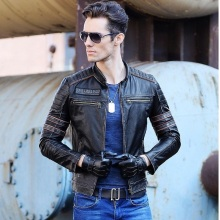 NOBLE DUKE shipping.Brand clothing men skull Jacketsmen's top genuine Leather biker