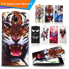 Newest  For Highscreen Boost 3 Factory Price Luxury Cool Printed Cartoon 100% Special PU Leather Flip case cover,Gift