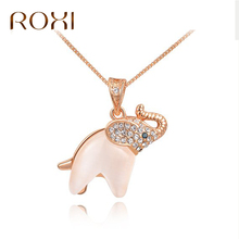ROXI Hot Fashion Opal Elephant Pendant Necklace Boho Crystal Choker Necklace Rose Gold Color Bijoux Collares Necklaces Jewelry(China)