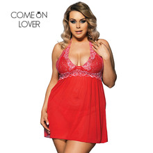 RI80003 Comeonlover Sexy Clothes Women Night Sex Babydoll 5 Colors Lace See Through Halter Big Size Sex Lingerie Women Underwear(China)