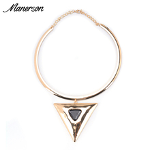 2016 Fashion Torques Necklace Pendant Statement Vintage Collar Women Triangle Choker Gold Neck Chain Maxi Collier Femme Jewelry