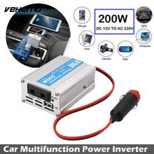 Vehemo 200W Car Power Inverter USB Converter DC 12V To AC 220V w/Adapter Plug Compact High Quality Car-styling Universal(China)
