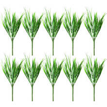 10pcs Plastic 7 Fork Spring Grass Green Artificial Plants for Simulation Flowers Home Hotel Store Dest Decor Decorative