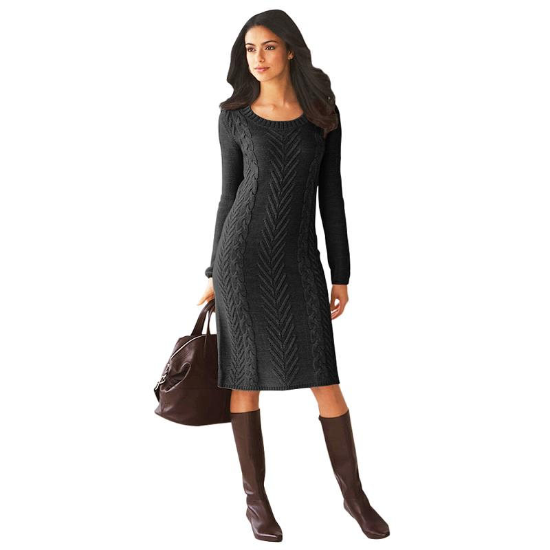 ADEWEL 2018 Spring Women Long Sleeve Bodycon Sweater Dress Casual Hand Knitted Midi Dress Elegant Inner Wear Womens Dresses (9)