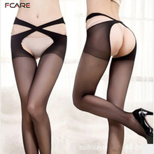 Buy Fcare adult pantyhose meia sexy women's stockings summer Sexy tight cross-strap open-crotch crotchless pantyhose stockings