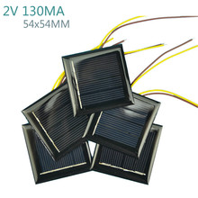 Aoshike 10Pcs DIY Solar Panels Photovoltaic Solar Cells With 15CM Wires Power Charger Solars Epoxy Plate 54x54MM 2V 130MA(China)
