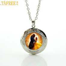 TAFREE Brand 2017 Newest movie beauty and the beast locket necklace princess charm men women statement jewelry pendant gift CT12(China)