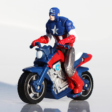 2016 Captain America Figure 10*10cm Super Hero The Avengers Captain PVC Action Figure Riding Motorcycle Fashion Cool Kids Toys