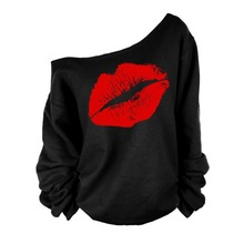 Lips Printed T-shirt Women Fashion Pullover Full Sleeve Off Shoulder Shirt Tops Girls Outerwear Clothes(China)