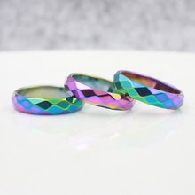 Fashion Jewelry Grade AAA Quality 6 mm Width Faceted Rainbow Color Hematite Rings (50 Pieces)HR1010-1(China)