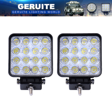 2PCS LED Spotlight 48W Square Car Lights Bar For Truck SUV Boating Hunting Fishing IP67 Waterproof LED Work Light Spot Lamp(China)