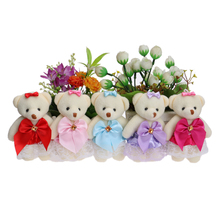 Flower Bouquets Material Plush Toys Cute Mini Model Lace Dress Bow Teddy Toy Mixed 5 Colors For Wedding Home Decoration Dolls