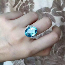 Natural blue topaz stone Ring Natural gemstone Ring S925 sterling silver trendy Luxury large for women party gift Jewelry
