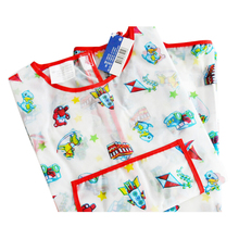 Children Kids Waterproof Long-sleeved Cartoon Smock Apron for Painting (White)